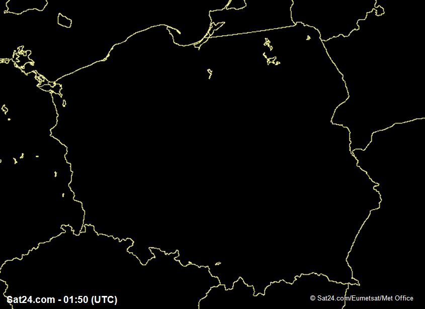 Aktualne zdjecie satelitarne Polska zachmurzenie Europa